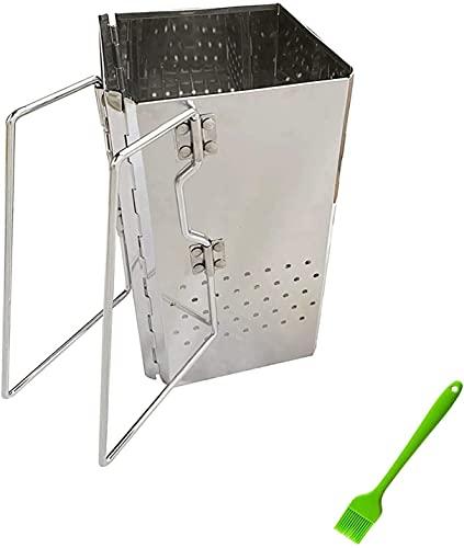 BESTPRVA Estufas cuadradas de leña Mini Horno de Carbono Estufas de leña BBQ Barbacoa Plegable para Acampar Estufas portátiles Parrilla Plegable