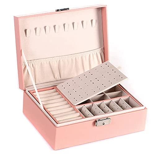Morninganswer Caja de Cuero de PU de Dos Pisos para el hogar Caja de Almacenamiento de joyería Multifuncional con exhibición de Anillo de joyería Delicada Rosa