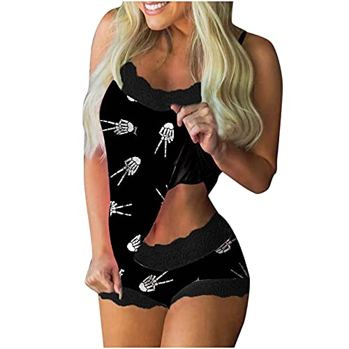 Wave166 Pijama de Halloween para mujer, con estampado de esqueleto, sexy, de dos piezas, parte superior y pantalones cortos, sin mangas, cuello cuadrado, con encaje, Negro , S