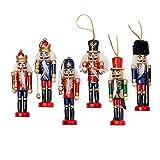 Cascanueces navideños 6 unidades, soldado de madera Cascanueces Set de marionetas de Navidad en soporte decoraciones cascanueces Festival decoración de Navidad adornos regalo