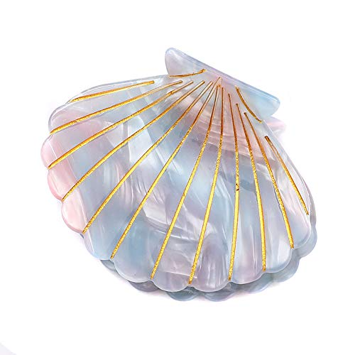 Shell Jaw Clip Hair Claw Clip Clamps Resin Hair Clips Marble Pattern Hairpins Hair Accessories for women Styling Hairdressing (Light blue)