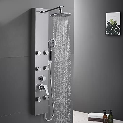 ROVATE 304 Stainless Steel Shower Panel Tower System, Wall Mounted Shower System with Adjustable Rainfall Shower Head, 6 Body Massage Spray and 5 Function Handheld Shower, Brushed Surface