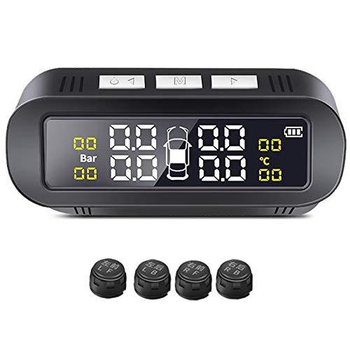 Laimiko Sistema de Monitor de Alarma de PresióN de NeumáTicos de Coche Solar TPMS Pantalla Advertencia de Temperatura Inteligente Ahorro de Combustible con 4 Sensores