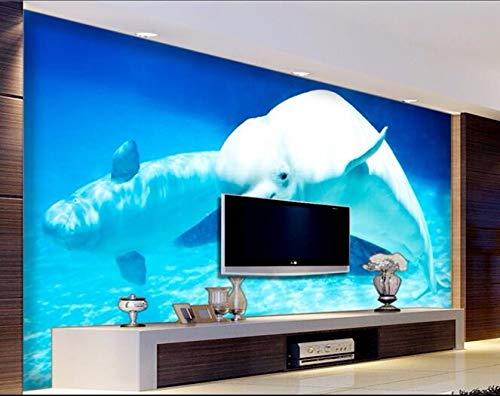 Wxlsl 3D Tapete Benutzerdefinierte Mural Vlies Wand Seaworld Wal Aquarium Malerei Foto 3D Wandbilder Tapete-300Cmx210Cm