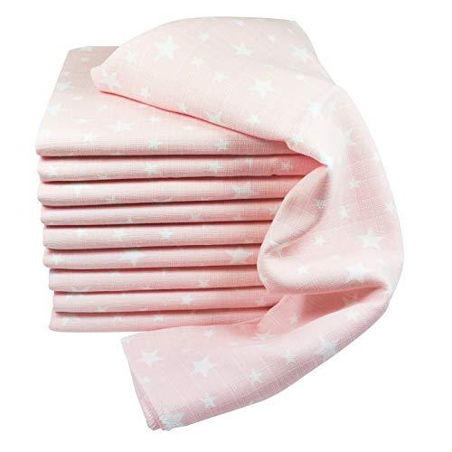Baby Mullwindeln 10 Stück Sterne | Spucktücher | Stoffwindeln 80 x 70 cm | Saugfähige Mulltücher | Öko-Tex (10 Rosa)