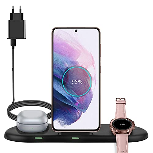 Cargador inalámbrico 3 en 1, Cargador inalámbrico Rápido para Samsung Galaxy Watch, Active Series y Galaxy Buds Series, Base para Cargador de teléfono Compatible con Samsung Galaxy S21 S20 S10