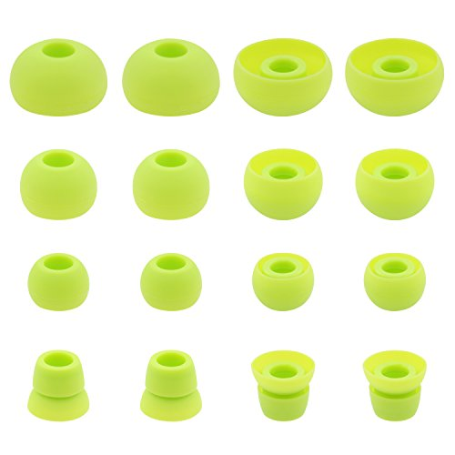 ALXCD Ear Tips for PB3 Powerbeats 3 Headphone, SML 3 Sizes 6 Pair Silicone Replacement Earbud Tips & 2 Pair Double Flange Ear Tips, Fit for Beats Powerbeats2 Pb3 [8 Pair](Green)