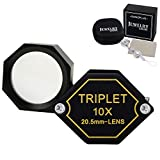 10x Magnifier Jewelry Loupe 20.5mm Triplet Lens Optical Glass Pocket Gem Magnifying Tool for Jeweler, Stamp Philatelist,...