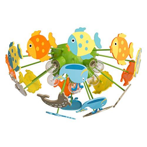 MW-Light 365014605 Deckenleuchte Kinderleuchter Fische Mehrfarbig Kunstsoff Umweltfreundlich Kinderzimmer E14 5 Flammig x 40W 230V