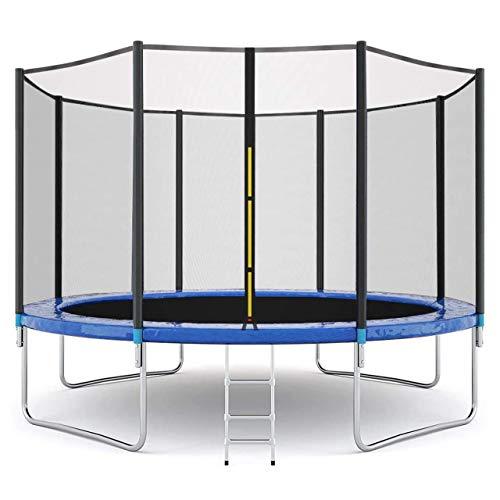 Tappeto elastico per bambini, tappeti elastici per il tempo libero con rete di protezione per tappetino da salto e imbottitura per la copertura della molla, per l'allenamento all'aperto di (12FT)