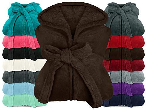 npluseins extra weicher Kapuzen-Bademantel aus Kuschelfleece - in modernen Farben und verschiedenen Größen - Unisex & wadenlang, XL, braun