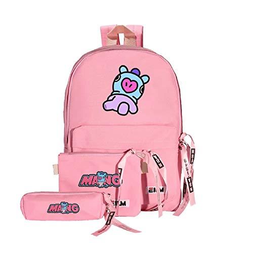 Kpop BTS Bangtan mochila de lona con estampado de niños de 3 piezas para escuela, con diseño de dibujos animados, con estuche BTS para lápices, estuche para lápices y cosméticos Pink,mang tamaño único