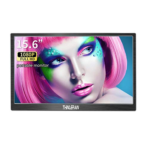 15.6 Inch Portable Monitor HDMI IPS 1920 * 1080P Screen Portable Gaming Monitor for Laptop PS3 PS4 Raspberry Pi WiiU Xbox Windows 7 8 10, buit-in Speaker, Thinlerain