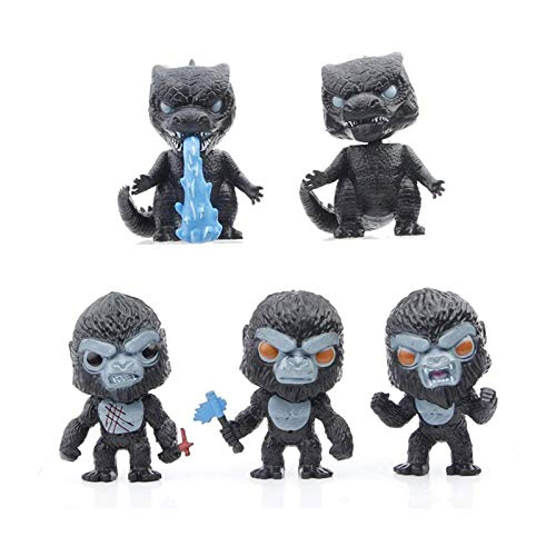 XLSM 5 Pieces Action Figure Cute Decorations,Dinosaurs and King Kong dolls,dinosaur With Heat Wave, Kong With Battle Axe,10cm