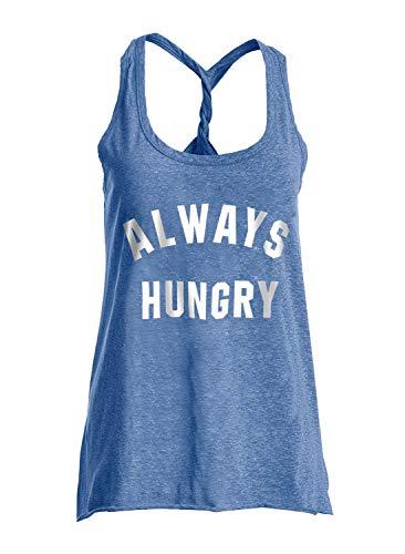 IRISGOD Camiseta sin Mangas con Espalda Cruzada para Mujer - Azul - Medium
