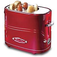 Ricatech Retro Line Hot Dog POPUP Toaster Maquina de Perritos Calientes, Acero Inoxidable, Rojo, Blanco