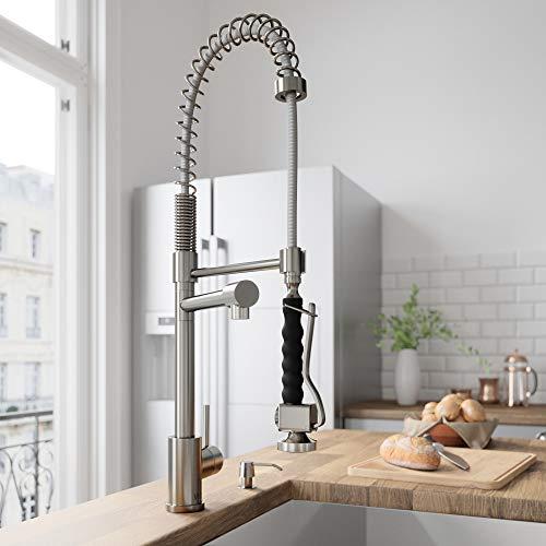 VIGO VG02007ST Zurich Single Handle Pull-Down Sprayer Kitchen Sink Faucet, Centerset Single Hole Faucet, Commercial-Style Design, Premium Stainless Steel Finish