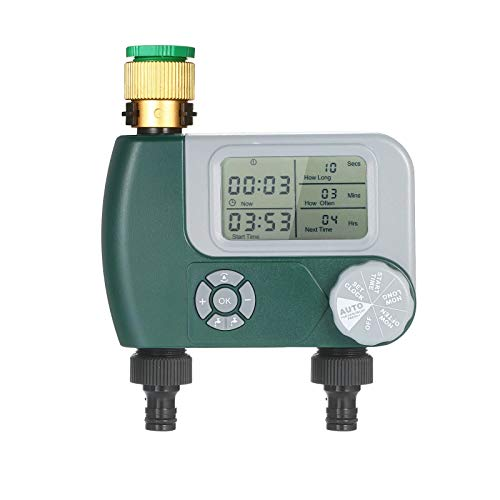 Zhengowen Control de Riego Controlador De Riego del Sistema De Rociadores De Riego Automático con 2 Salidas De Baterías Operadas Temporizador de Rociadores de Grifos (Color : Verde, Size : EU)