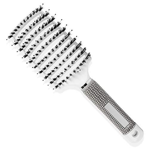 FENRIR Cepillo de cerdas de jabalí,Cepillo para el pelo, cepillo de pelo curvo y ventilado para cabello largo, fino, grueso y rizado