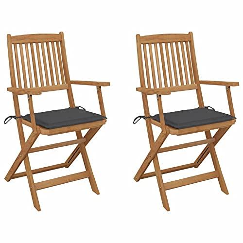 Festnight Klappbare Gartenstühle 2 STK. mit Kissen Klappstühle Holzstühle Garten-Essstühle Outdoor-Sessel Klappsessel Massivholz Gartenmöbel Akazie