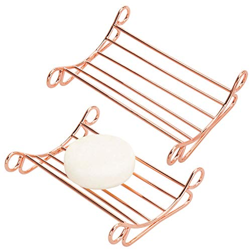 MyGift Vintage Style Scrollwork Copper Plated Metal Wire Bathroom Soap Bar Holder Bath Sponge Saver Dish Tray for Shower, Tub, and Kitchen Sink, Set of 2