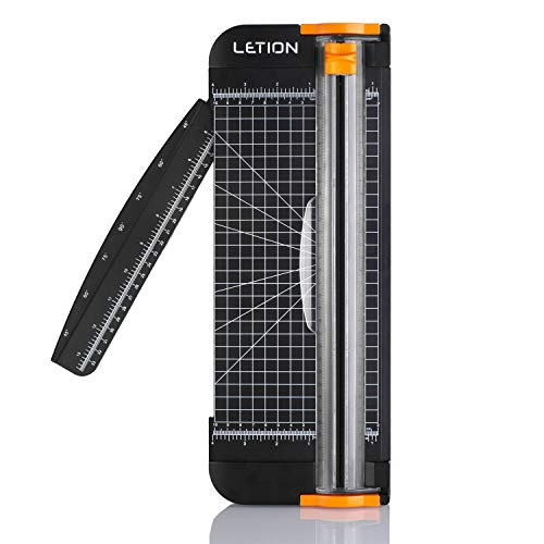 LETION Trimmer Titanium 12 inch A4 Cutter with Automatic Security Safeguard Guillotine for Coupon, Craft Paper, Label and Photo(Black)