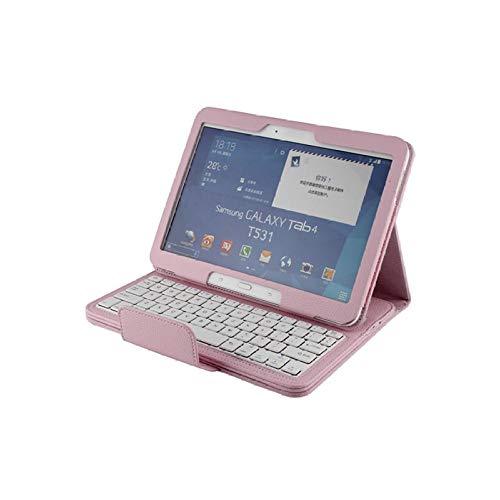 Teclado inalámbrico Bluetooth para Galaxy Tab 4 10.1 Funda para Galaxy Tab4 10.1 T530 Tablet Funda con Soporte de Cuero con Tapa + Bolígrafo-Rosado