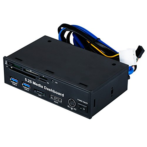 Excelvan 5.25 Inch Media Dashboard Muiti-funtion All-in-one Card Reader Two USB 3.0 Sata E-sata 20pin Front Panel I/o Ports-support Sd/ms/mmc/xd/tf/cf/m2