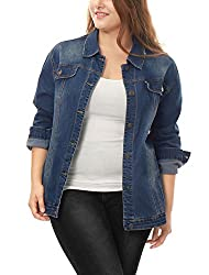 """""""uxcell Womens Plus Size Button Down Washed Denim Jacket with Chest Flap Pocket"""""""