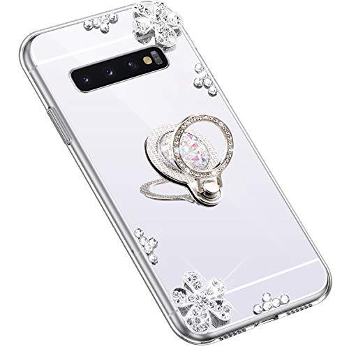 Uposao Kompatibel mit Samsung Galaxy S10 Hülle Glitzer Diamant Glänzend Strass Spiegel Mirror Handyhülle mit Handy Ring Ständer Schutzhülle Transparent TPU Silikon Hülle Tasche,Silber