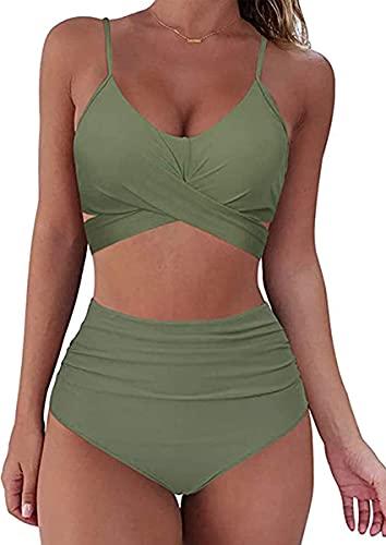 CheChury Traje De Baño Mujer Sexy Bañador de Baño Conjunto de Bikini Push up Sujetador Acolchado Traje de baño Bikini para Mujeres Dos Piezas Cuello Halter Tirantes con Retro Ropa Playa