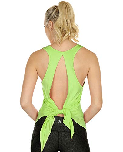 icyzone Damen Rückenfrei Yoga Tank Tops Ärmellos Workout Fitness Shirts (L, Greenery)