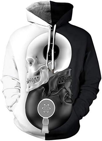 PIZOFF Unisex Novelty Hoodie Halloween Realistic 3D Print Skull Earphone Pullover Sweatshirt product image