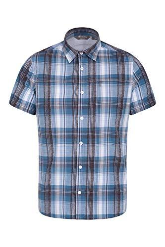 Mountain Warehouse Holiday Herren-Kurzarm Baumwollhemd - Pflegeleichtes Sommerhemd, Leichtes Freizeithemd, Oberteil Kurzarm-Shirt, Knopf-Hemd - Für Camping Hellblau S