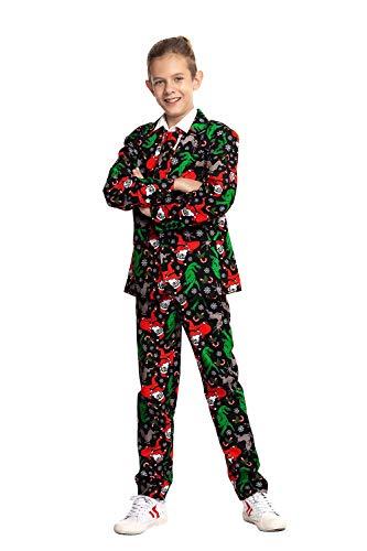 U LOOK UGLY TODAY Modisch Jungen Party Anzug Weihnachten Party Suits Kostüm Weihnachtsanzug Festliche Anzüge in Normalem Schnitt mit lustigen Mustern inkl Jackett Hose Krawatte