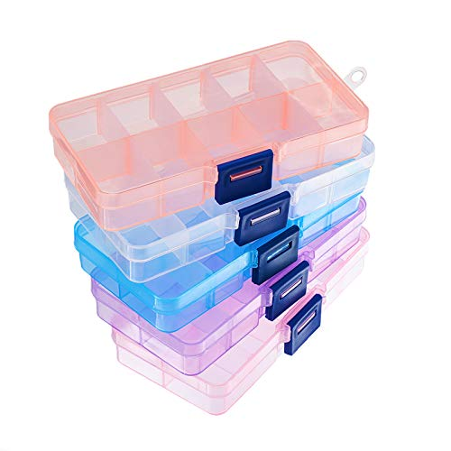 PandaHall Elite 5 Pack 10 Rejillas Caja de Almacenamiento de Bolas de plástico rectángulo Caja Organizador de la joyería, 68 x 129 x 22 mm