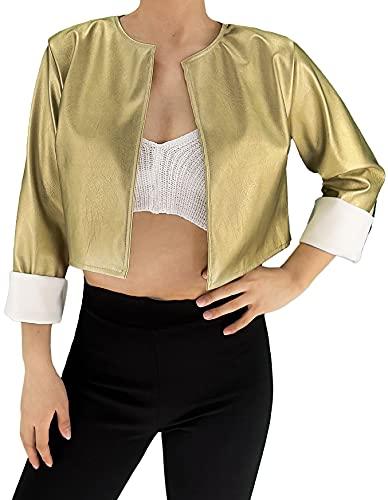 JOPHY & CO. Chaqueta, corta para mujer, ligera, de manga larga, sin cuello, de piel sintética (cód. 6352) dorado XL corto