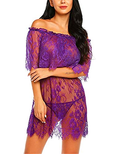 Vrouwen Lingerie Sexy Sets, Babydoll Mini Teddy Bodysuit Sexy Lingerie Backless Chemise Lace Bodysuit Vrouwen Ondergoed Sexy Pyjama,Purple,XL