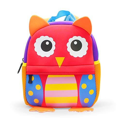 JINYJIA Mochila para Niños, Animales Bolsa Preescolar Mochila, Escuela Mochilas Infantiles, Dibujo de Animal Lindo, para Niñas & Niños de 2-5 Años (Búho)