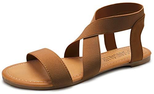 SANDALUP Damen Sandalen mit Gummiband, Braun, 40 EU