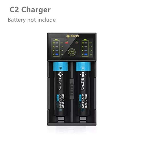 Efan Eizfan C2 Universal Battery Charger USB Charger Led Intelligent Charger Smart Charger 2 Bay for 14500 17500 18650 26650 26700 20700 21700 Rechargeable Batteries Ni-MH Ni-Cd A AA Battery