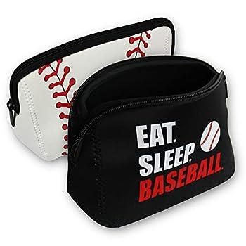 Knitpopshop Baseball Softball Make Up Bag Cosmetics Toiletries Neoprene washable zipper women girls mom gift team player  Baseball Combo 2 Pack