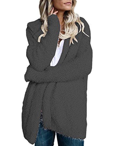Minetom Damen Herbst Winter Strickjacke Cardigan Mit Kapuze Beiläufige Langarm Knit Mäntel Oberbekleidung Kimono Tops Kapuzenpullover Grau DE 42