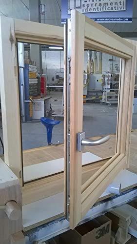 Fenster in rauen Holzfenstern cm L 100 x 100 H – Doppelglas – Griff – gebeizt – zu behandeln: Imprägnier/Lack – in jeder Farbe…