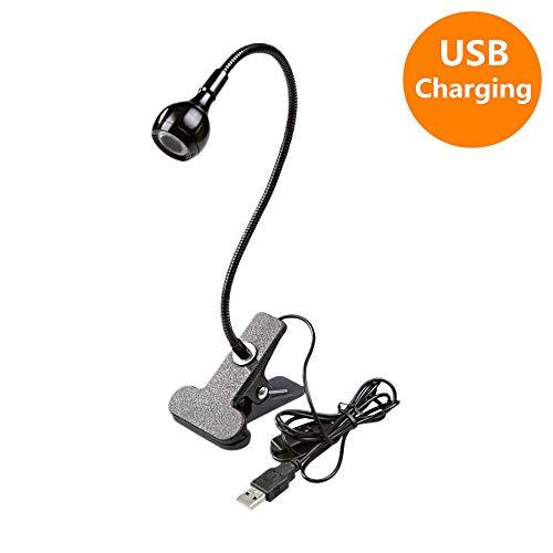 Womao Set van 2 zwarte leeslampen, klemlamp, boekenlamp met USB-kabel voor nachts, lezen van kantoor, boek, bed, 360 graden draaibare arm, zwanenhals, bureaulamp, studeerkamer, warmwit