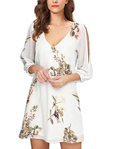 Noctflos Women's White Floral Cold Shoulder Bridal Shower Dress 3/4 Sleeve Chiffon Beach Dresses for Summer Casual Wedding Guest