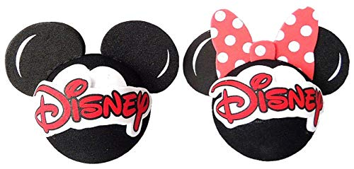 Disney Logo Mickey and Minnie Mouse Head Antenna Topper 2 Pack - 2 Inch