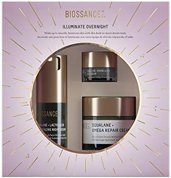Biossance Illuminate Overnight 3 Piece Facial Set Lactic Acid Night Serum Omega Repair Cream product image