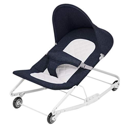 Fauteuil à bascule à roues en aluminium Lazy personne lavable pliant somnolent panier reposant apaiser Swing 4 couleurs 76 cm * 43 cm * 45 cm MUMUJIN (Color : Blue)