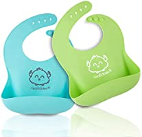 Silicone Baby Bibs - Waterproof, Easy Wipe Silicone Bib for Babies, Toddlers - Baby Feeding Bibs with Large Food Catcher...